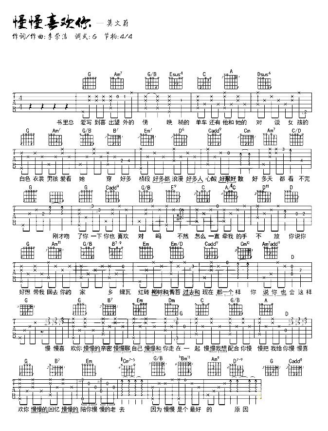 《慢慢喜欢你》抖音最新_吉他谱