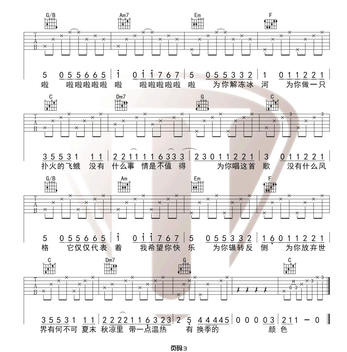 《有何不可》吉他谱_许嵩_C调原版吉他弹唱六线谱_高清图片谱3