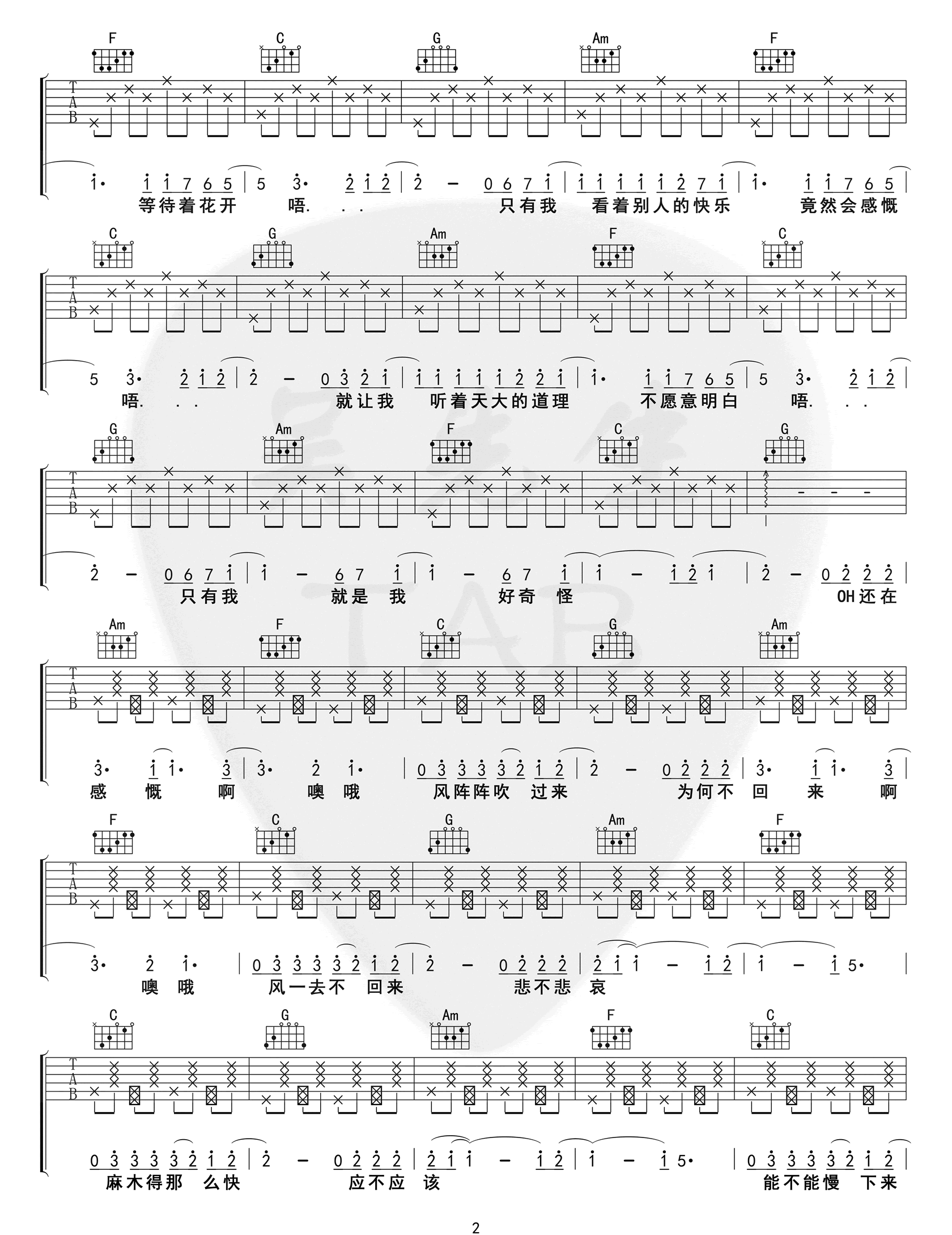 《烟火里的尘埃》吉他谱_华晨宇_C调改编版弹唱谱_高清六线谱2