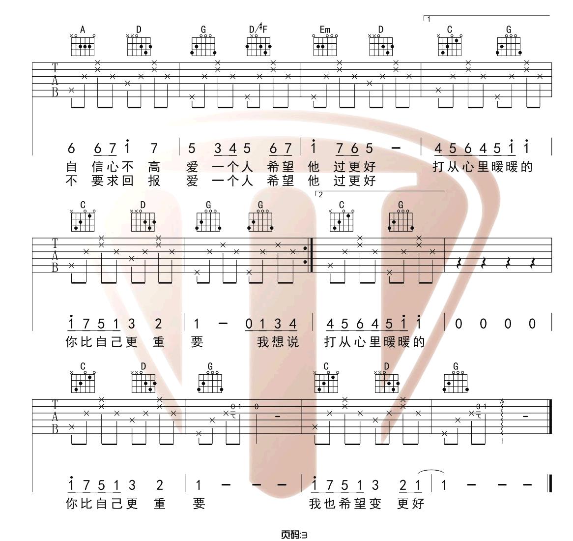 暖暖吉他谱_梁静茹_《暖暖》G调原版吉他弹唱六线谱_高清图片谱3