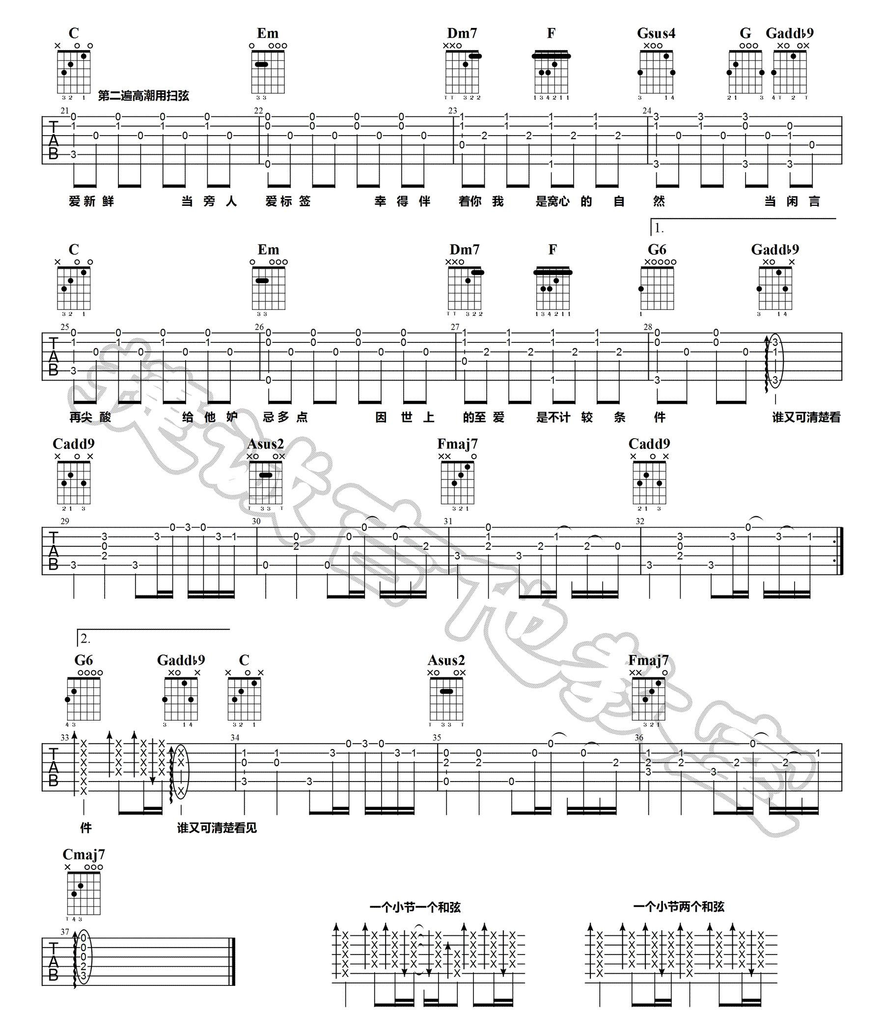 《无条件》吉他谱_陈奕迅_C调原版六线谱_吉他弹唱高清图片谱2