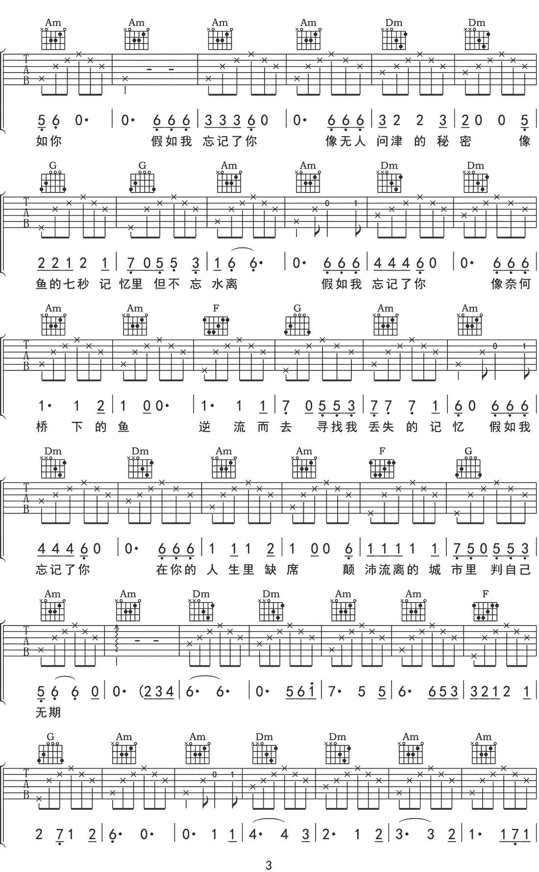 假如我吉他谱_解忧邵帅_《假如我》C调原版弹唱谱_高清六线谱3