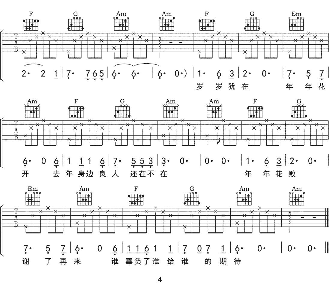 假如我吉他谱_解忧邵帅_《假如我》C调原版弹唱谱_高清六线谱4