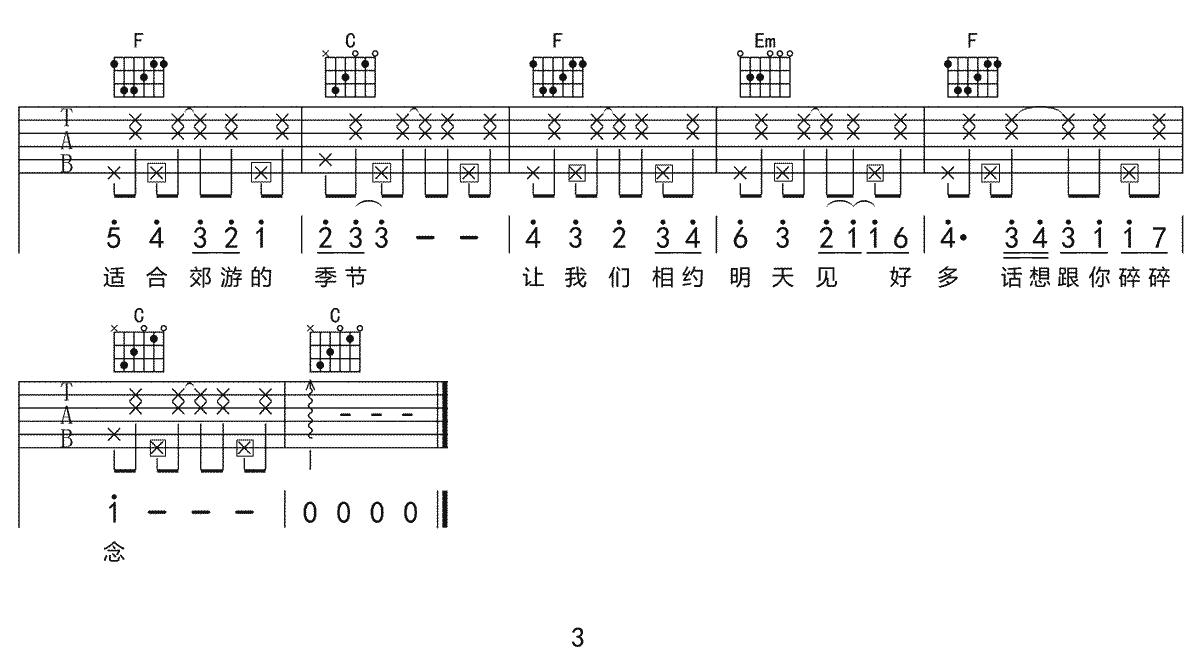 《元气夏天》吉他谱_刘瑞琦_C调原版弹唱六线谱_高清图片谱3