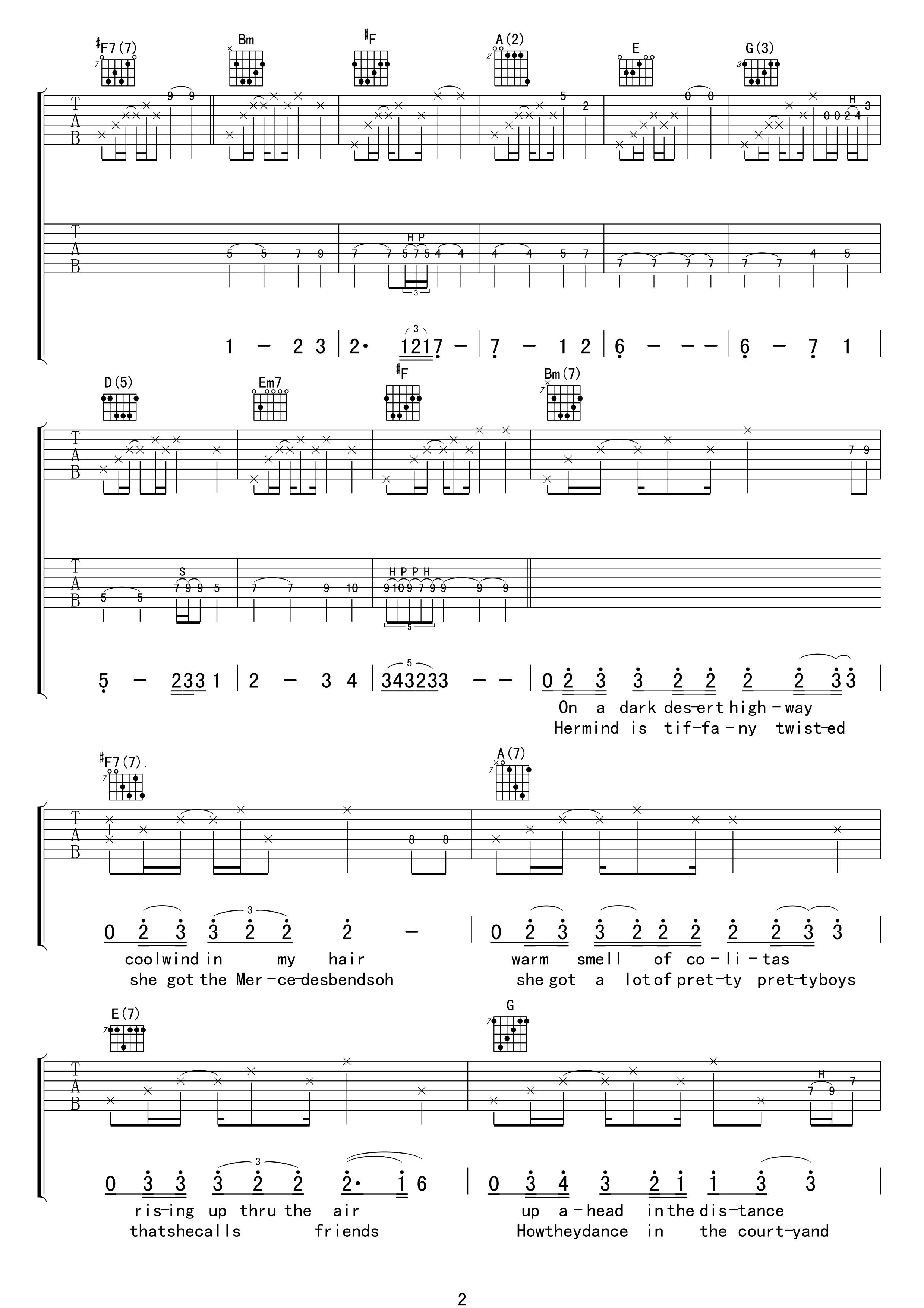 加州旅馆吉他谱-老鹰乐队 摆脱被奴役的命2