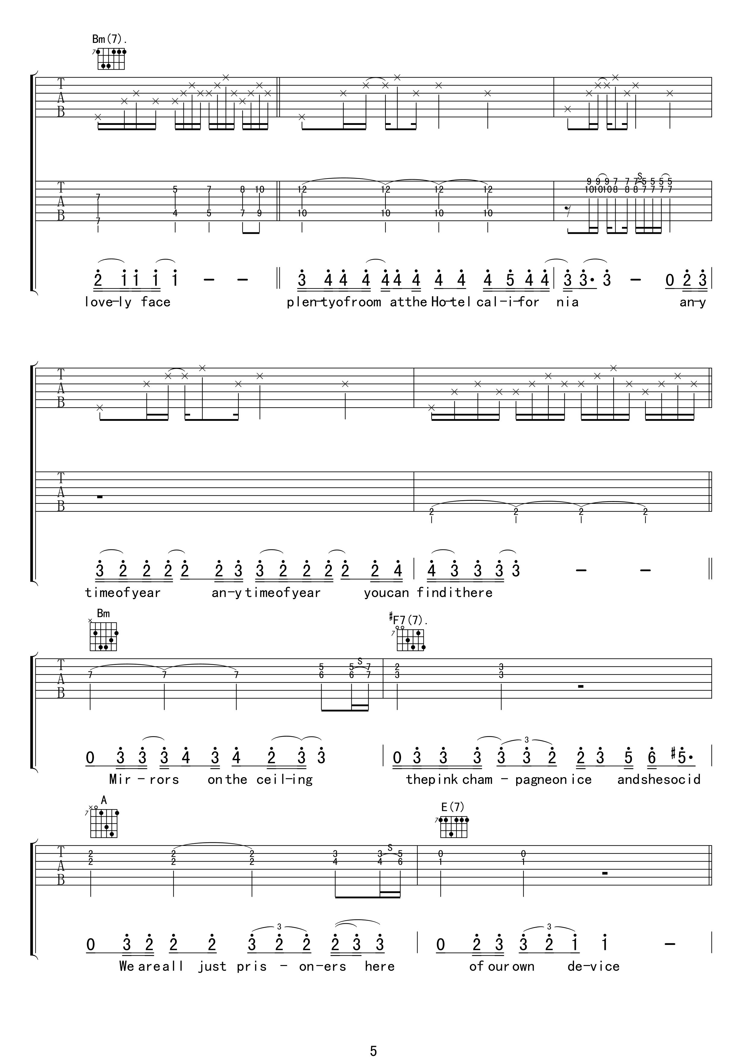 加州旅馆吉他谱-老鹰乐队 摆脱被奴役的命5