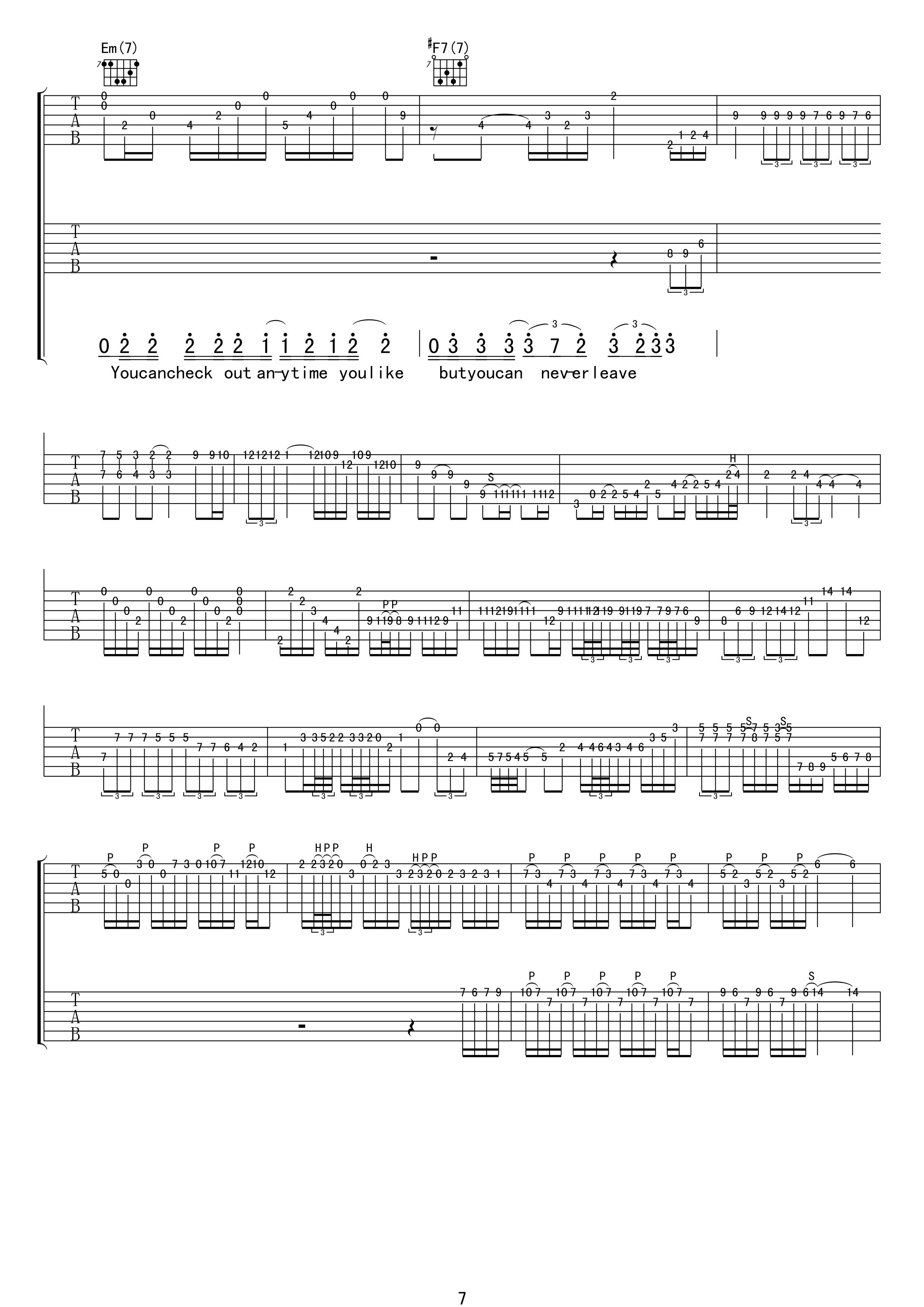 加州旅馆吉他谱-老鹰乐队 摆脱被奴役的命6