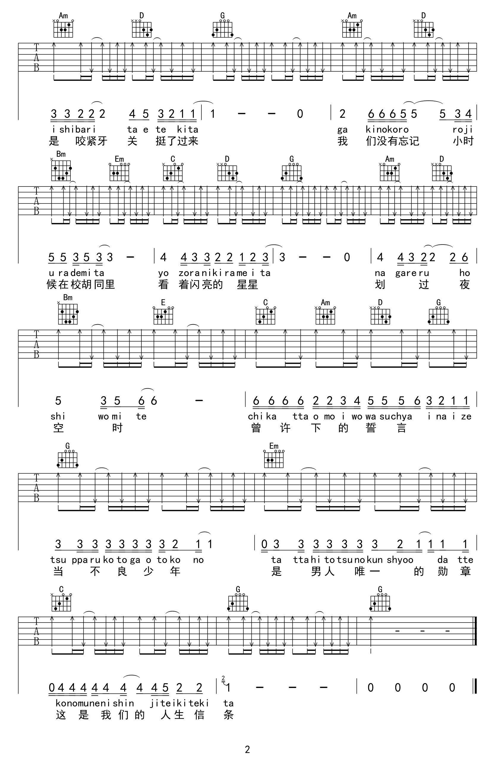 男人的勋章吉他谱_G调简单版弹唱六线谱_高清图片谱
